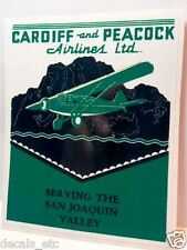 Cardiff and Peacock Airlines Vintage Style Travel Decal / Vinyl Sticker, Label