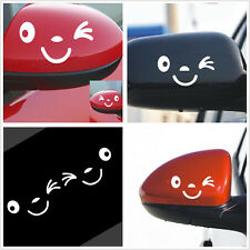 White Reflective Smile Face Design Decorative Decal Sticker For Car Side Mirror