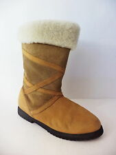 BASS TIG4 2 TONE BROWN SUEDE LEATHER PULL ON MID CALF WINTER BOOT WOMENS 9.5M