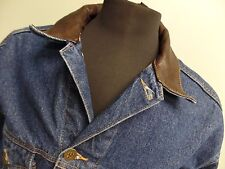 Marlboro Country Store Jacket Denim Jean Leather Collar Button Front Blue Mens M
