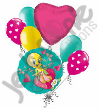 7 pc Tweety Heart Butterflies & Strawberry Balloon Bouquet Party Happy Birthday