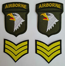 2 x US Army 101st Airborne + Sergeant Chevrons Iron on Patch New Sew on Patch