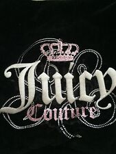 Authentic Juicy Couture  Black Velour Pink Crown Hobo Purse Handbag