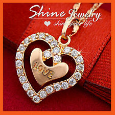 9CT ROSE GOLD GF LOVE HEART SWAROVSKI DIAMONDS XMAS GIFT SOLID PENDANT NECKLACE