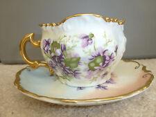 Vintage Brandenburg Left Handed Porcelain Moustache Cup & Saucer Violets