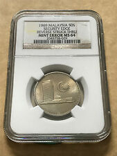 Malaysia 50 Sen 1969 Parliament coins Key Date Security Edge Mint Error NGC MS64