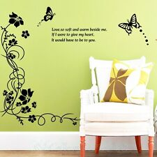 VINE FLOWERS BUTTERFLIES BLACK ROOM WALL ART STICKERS VINYL DECAL HOME DIY DECOR