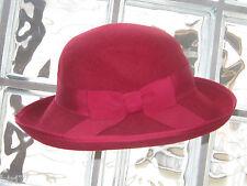 Laura ASHLEY VINTAGE Crimson Red Lana Feltro Cloche Cappello, Taglia unica