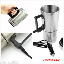 Stainless Steel Travel Coffee Mug Insulated12V Heated Thermos Plugin Car Charger