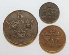 Sweden: 5 Ore since 1948. 2 Ore 1942, 1 Ore 1947 in VF Condition. Iron coins.