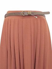 EX M & S INDIGO COLLECTION CHESTNUT VINTAGE PLEAT JERSEY SKIRT WITH BELT UK 18