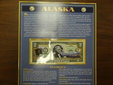 US MINT TWO DOLLAR BILL AND INFORMATION CARD REAL NICE KEEPSAKE ALASKA COLLECTAB