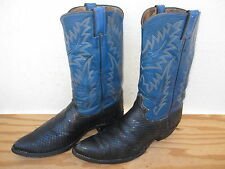 Vtg Mens Justin Snake Skin Western Cowboy Boots Sz 10D Black/Blue Leather