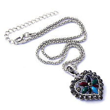 White Gold Plated Silver blue turquoise Crystal Huge Heart Pendant Necklace Set