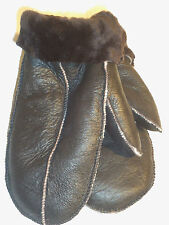NEW L-XL SIZE BROWN REAL SHEEPSKIN SHEARLING LEATHER MITTENS MITTS GLOVES.
