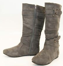 Women Knee High Tall Black Boots Slouch Buckle Western Cowboy Faux Suede
