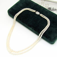 "Designer Mikimoto 2-Strand Graduated White-Rose Pearl 17"" Necklace 