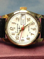LUCERNE SWISS VINTAGE MANUAL WIND GOLD SS WATCH LADY MEN SMALL OLD STOCK - WORKS