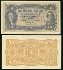 Norway 10 Kroner 1942 P 8 Vf +