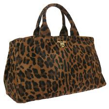 Authentic PRADA CANAPA Logos Hand Tote Bag Leopard Spawn Fur Large XL BT11821