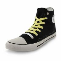 Diesel New Mens High Top Canvas Shoes Fashion Plimsolls Black Trainers Sneakers