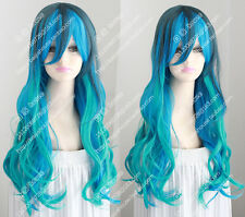 2016 new fashion color wig wave curly hair green and blue color Sexy girl wigs