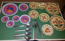 Vintage 25+ Play Kitchen Dishes - Plates Cups, utensils -Metal-Tin Litho usa