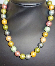 "KENNETH JAY LANE (QVC) FAUX PEARL NECKLACE - PASTEL SHADES - 18"" + 4"" EXTENDER"