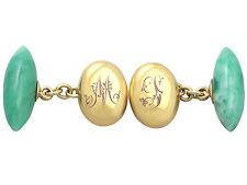 Jade e 15 ct Oro Giallo Gemelli-Antico Circa 1900