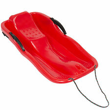 Kids Snow Sled Toboggan Boat Sledge W/ Brakes, Rope Outdoor Sport- Red