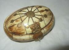 "ANTIQUE 3 3/4"" FAUX TORTOISE SHELL & BRASS INLAY TRINKET JEWELRY BOX EXCELLENT"
