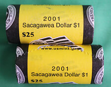 2001 P and D Sacagawea $1 US Mint 25 Coin Roll 50 Coins 2 ROLLS Native American