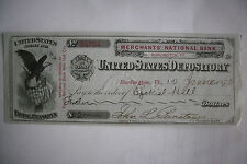 1876 SIGNED PENSION CHECK CIVIL WAR SOLDIERS John Barstow & Ezekiel Hill VERMONT