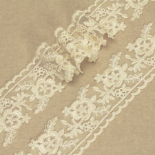1 Yard - IVORY VINTAGE FLOWER LACE TRIMMING FABRIC Bridal Wedding Dress Craft L6