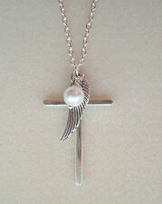 "Cross Angel Wing Pearl Cluster Pendant Silver Plated 28"" Chain Necklace"