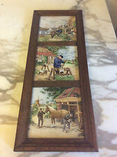 Vintage Trio Framed MOSA Ceramic tiles Holland, Horse Cobbler Dutch
