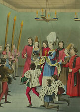 Heraldry Lady Of Tournament Presenting Prize Henry Shaw 1858 Hand Coloured Print