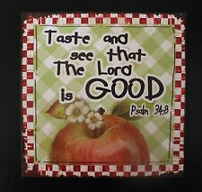 Apple Wall Sign Psalms 34:8 Picture Metal Country Decor Gingham 9.5""