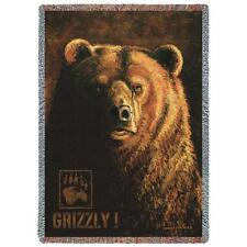 Shadow Beast Grizzly Bear Tapestry Afghan Throw