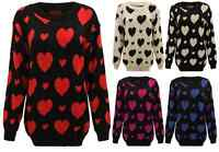 WOMENS HEARTS PRINT KNITTED JUMPER LADIES WINTER SWEATER TOP PLUS SIZES 16-26