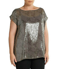 NWT EILEEN FISHER RYE BATEAU NECK SEQUINNED SHIMMER TOP BLOUSE 2X RT298 FREE SHP