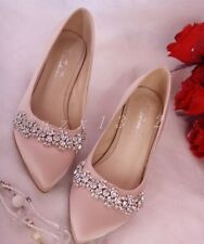 Sexy Womens Satin Wedding Pointed Toe Ladies Rhinestone Bridals Party Shoes Pump