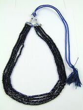 NATURAL SAPPHIRE ROSARY 4 M.M ROUND BEADS NECKLACE 4 LINE GEMSTONE JEWELRY