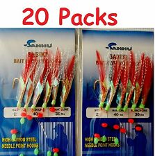 20 Packs Size 2 Sabiki Bait Rigs 6 Hooks Red Feather Saltwater Fishing Lures