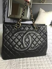 CHANEL Large Black Caviar Skin Chain Strap Shopper Tote Bag