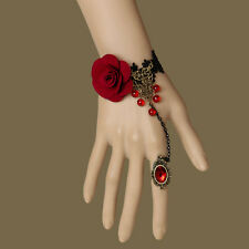 Hot Occident Prom Fashion Party Red Beads Cloth Rose Flower Lace Bracelet Ring