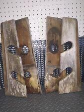 """Vintage TEAK WOOD Fishing Pole Rod Holder Rack Mount ea Piece 18-3/4"""" X 6-1/4"""""""