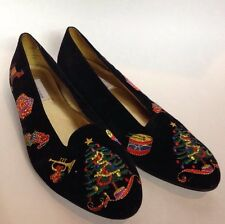 Size 10 M Womens Velvet Ugly Christmas shoes, Vintage Carriage Court  Xmas Flats