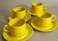 Set of 4 Danawares Melamine YELLOW Stackable Mugs Coffee Cups & Saucers