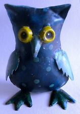 Unique Shape Hand Made Iron Owl Painted Statue Home Collectible Art